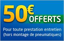 50€ offerts pour 4 pneus achetés