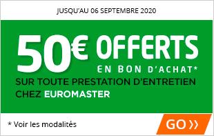 50€ offerts pour l'achat de 4 pneus